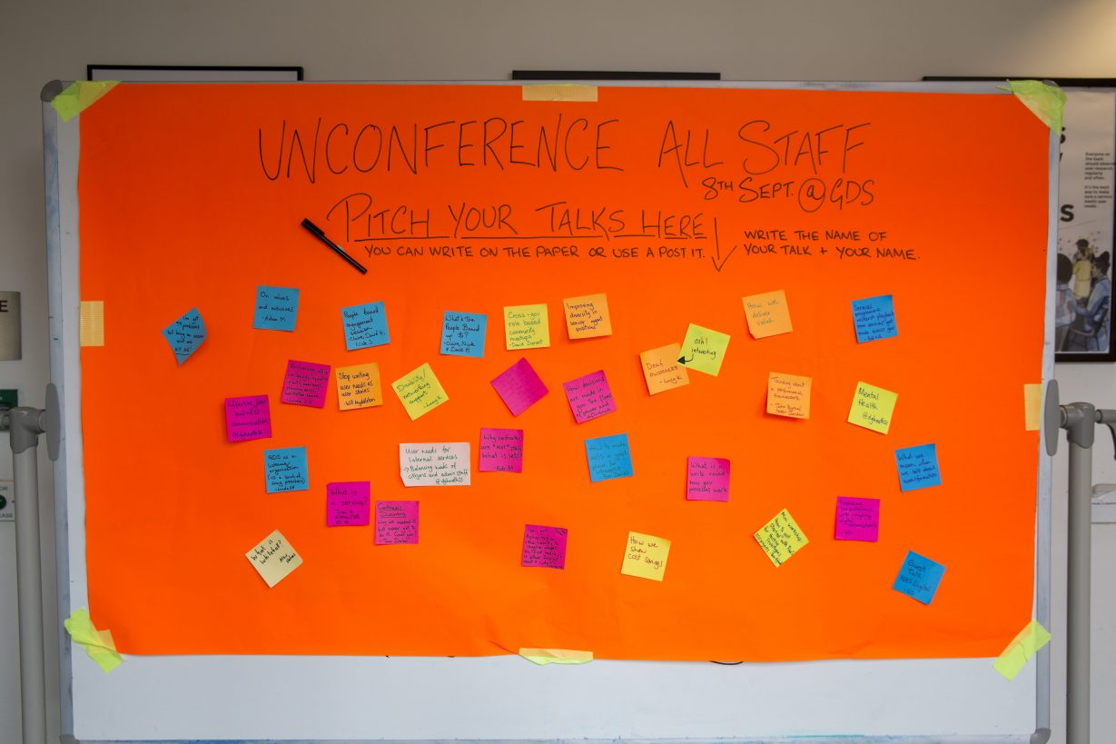 The board we put out for Unconference ideas, with sticky notes on it
