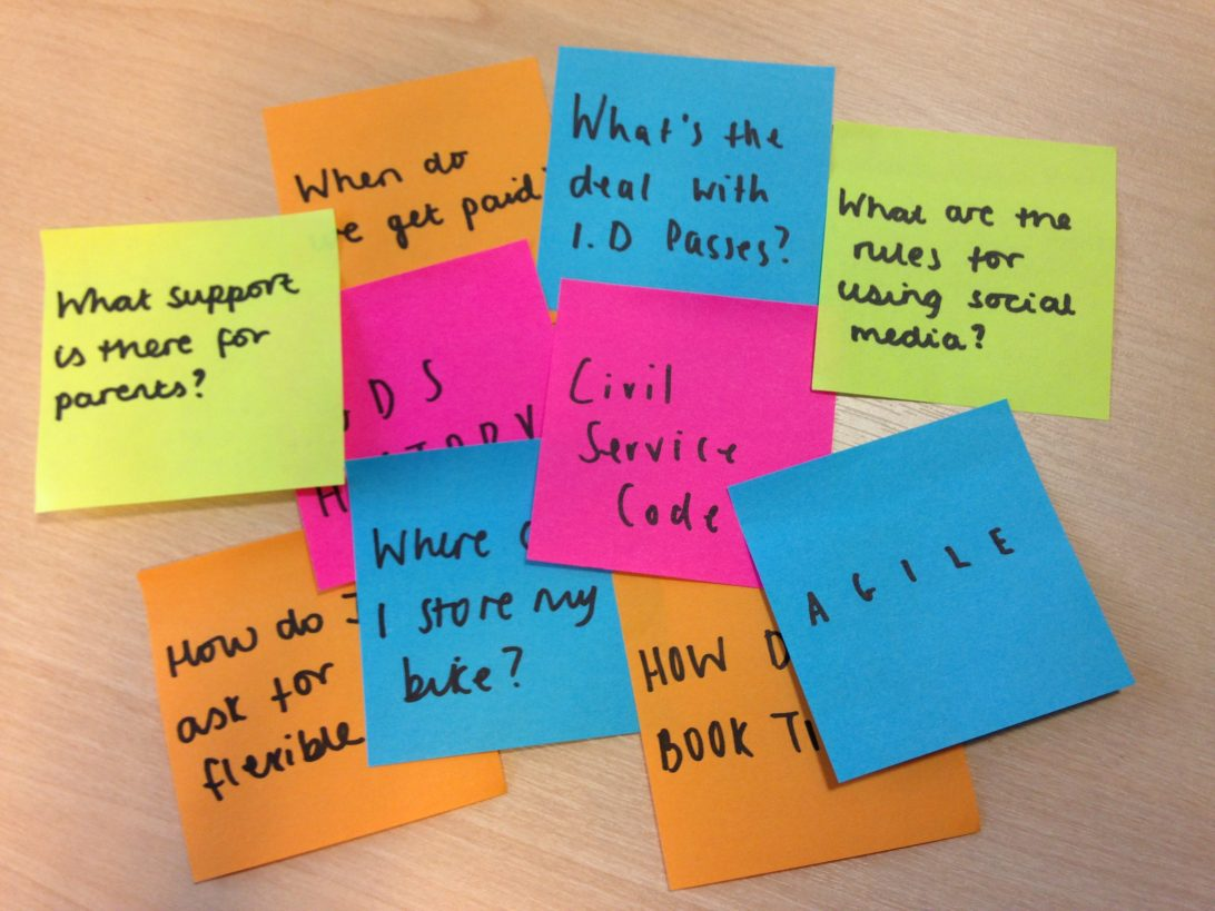 Sticky notes of questions new starters may have