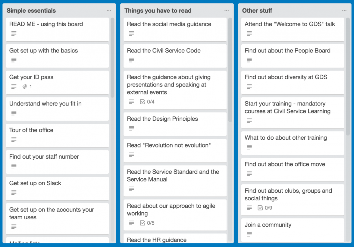 New starter Trello board, including simple essentials, things you have to read and other stuff