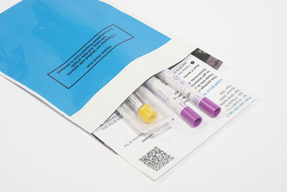 Test kit samples in an envelope