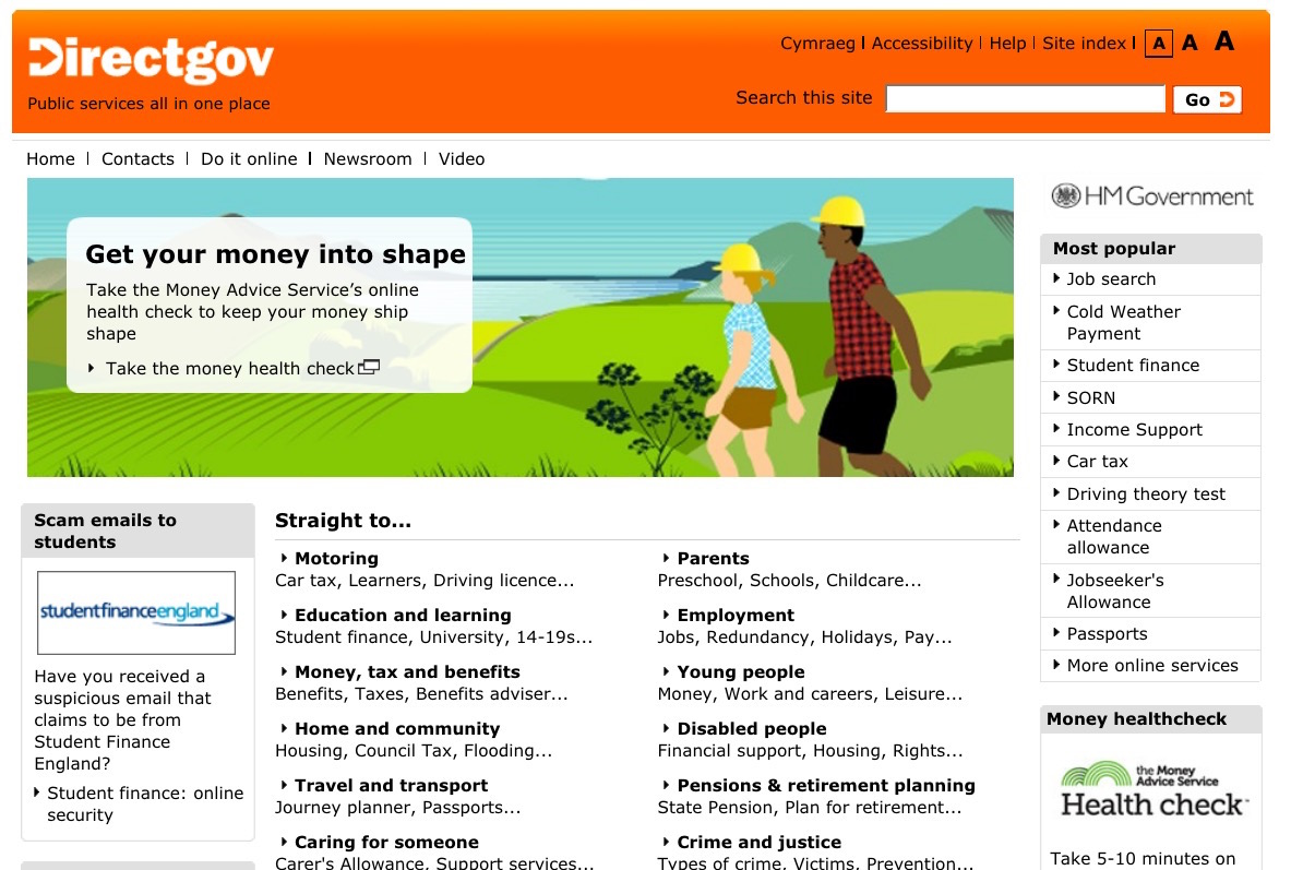 Screenshot of Directgov home page from 2011.