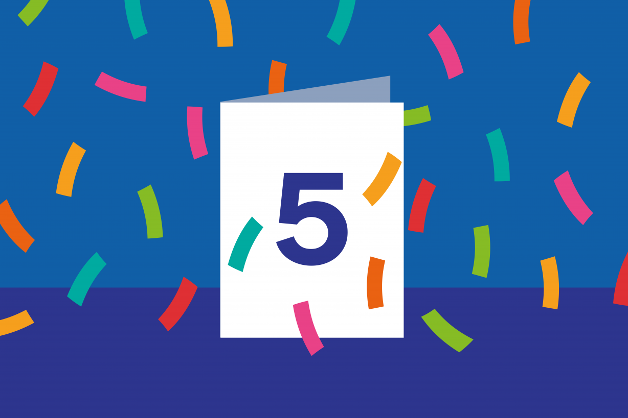 Illustration of GDS 5th birthday card with confetti