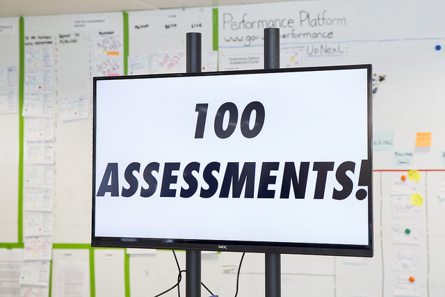 "A screen in the GDS office with the words ""100 assessments!"""