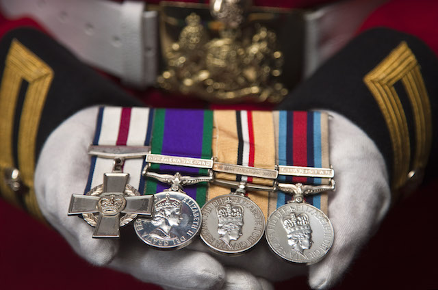 A Corporal of Horse of the Life Guards displays his medals.