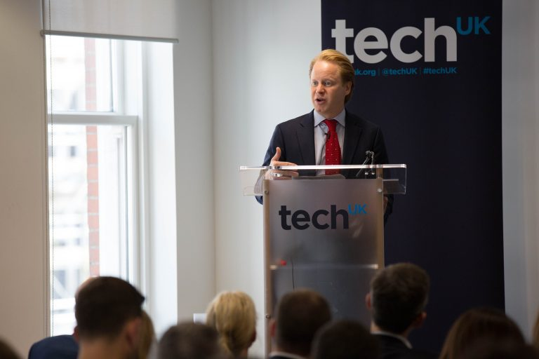 Photo of Minister for the Cabinet Office Ben Gummer speaking at the techUK event, September 2016.