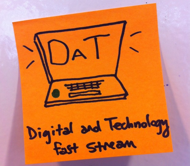 A sticky note with a drawing of a laptop computer and the words 'DaT: Digital and Technology Fast Stream'