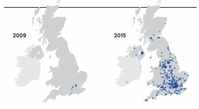 Maps showing growth in government suppliers between 2009 and 2015