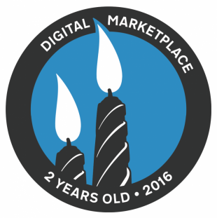 "Sticker showing two lit candles and the words: ""Digital Marketplace, 2 years old, 2016."""