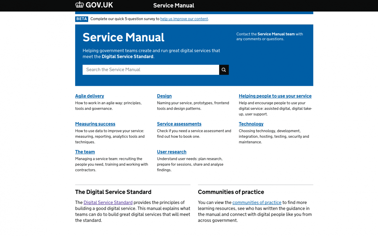 The new Service Manual homepage