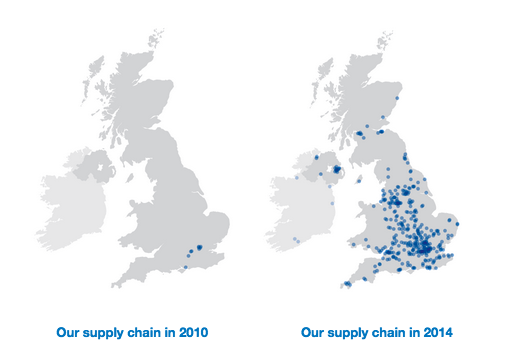 Map showing UK government supply chain changes from 2010 to 2014