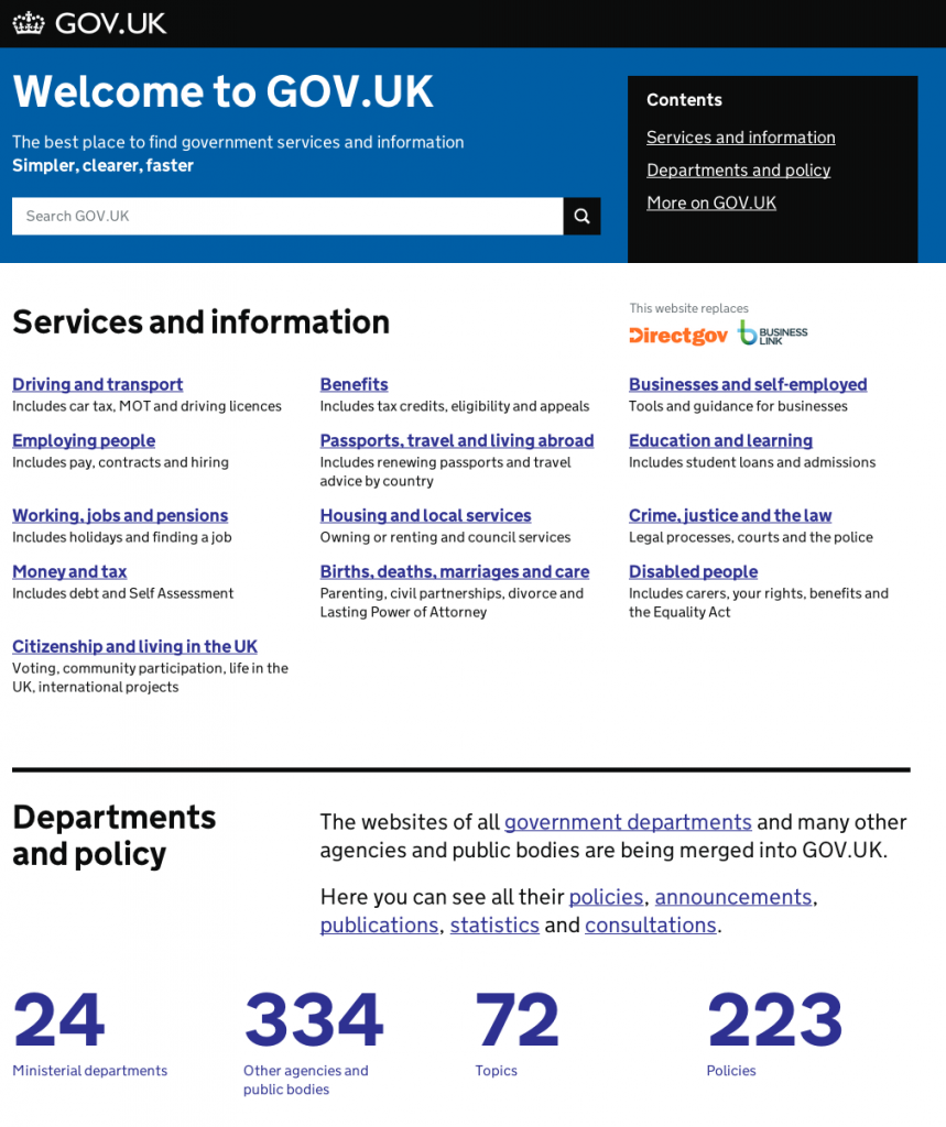 Screenshot of GOV.UK home page, as updated on 23 July 2013. The home page has been simplified and the search bar is now back in the middle and larger again.