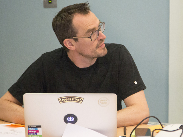 A photo of Head of Accessibility Alistair Duggin at the 2016 Accessibility Hack Day.