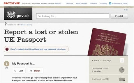 Prototype alpha page showing how you report a lost of stolen UK Passport.