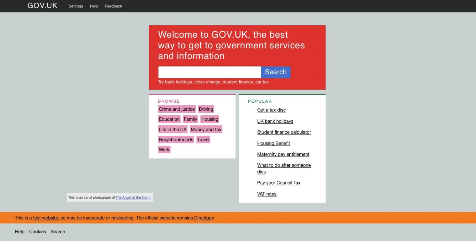 Screenshot of the GOV.UK beta homepage from February 2012.