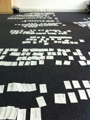 The floor in Hercules House covered in hundreds of user needs on white flash cards grouped in rows.