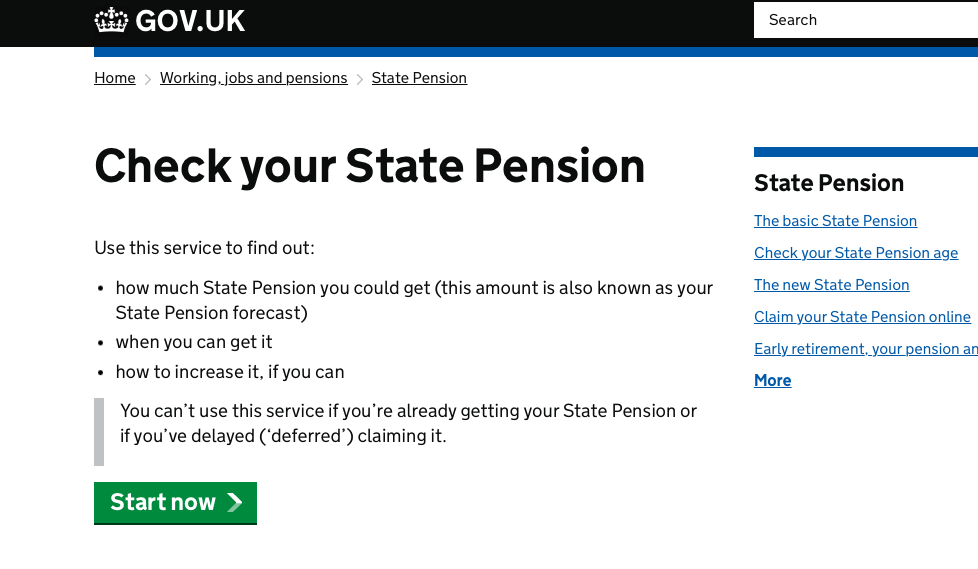 Screenshot of Check your State Pension service on GOV.UK.