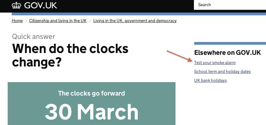 "Screenshot of ""When do the clocks change?"" page on GOV.UK, highlighting experimental ""Test your smoke alarm"" link"