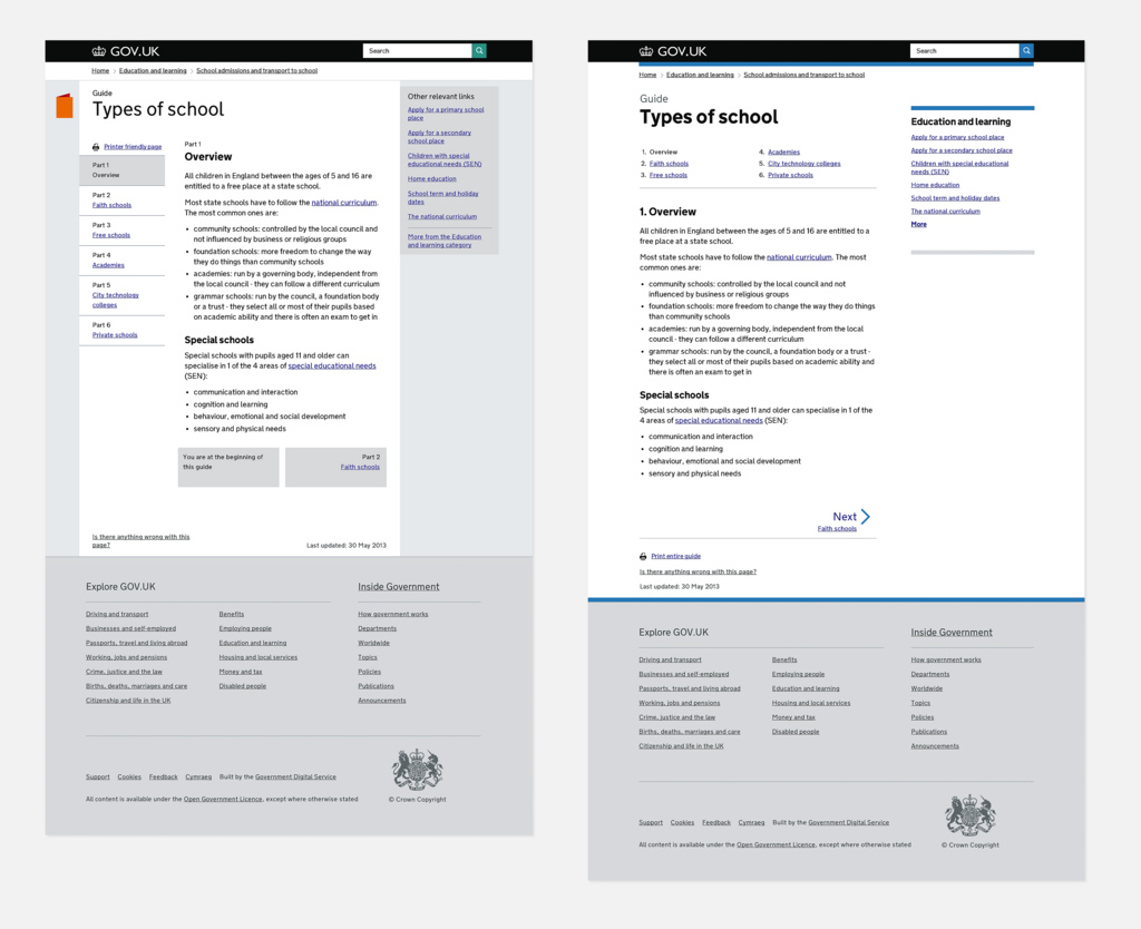 Side-by-side comparison screenshots of the same page (Types of school) on GOV.UK, showing the change after removing icons that no-one really understood and updating the typography and related content.