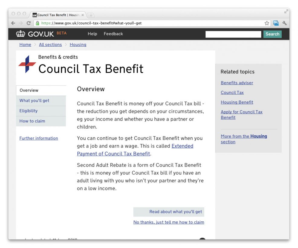 Screenshot of a further iteration of the GOV.UK beta. This shows the Council Tax Benefit page.