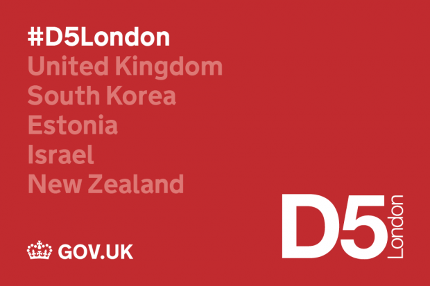 D5 event logo including list of participating countries (United Kingdom, South Korea, Estonia, Israel, New Zealand)