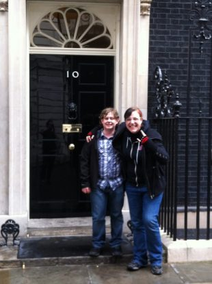 Developers Dafydd Vaughan and Mazz Mosley outside the door to 10 Downing Street.