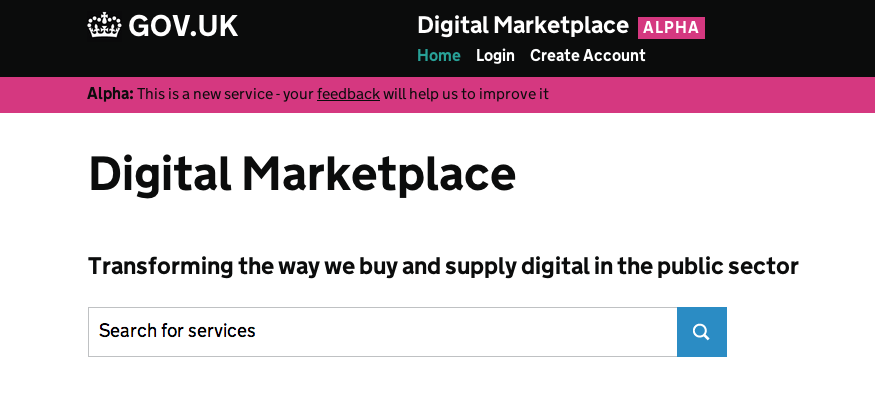 Screenshot of the early Digital Marketplace alpha home page.