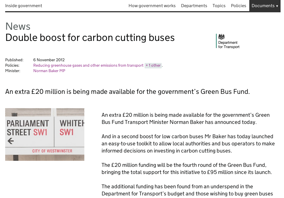 Screenshot of Inside Government from November 2012. This page is a news article from the Department for Transport, about reducing greenhouse gases.