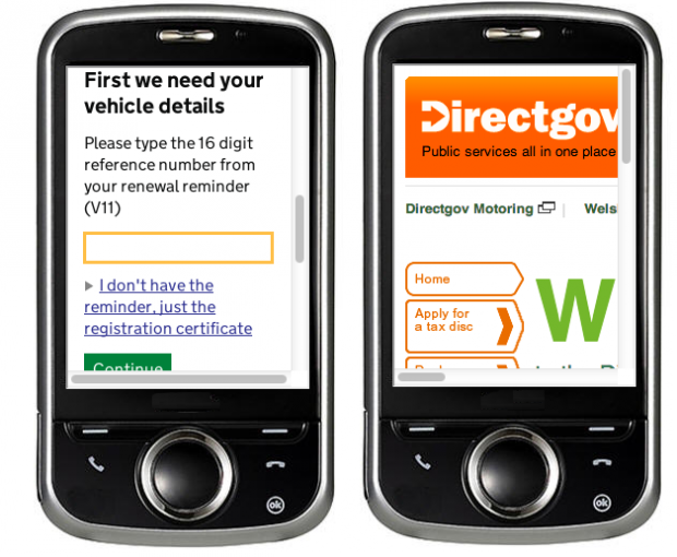 Screenshot comparing the GOV.UK and Directgov versions of the DVLA web pages on a mobile device.