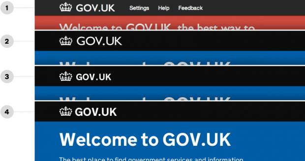 Graphic showing 4 evolutions of the GOV.UK header including typeface and size changes.