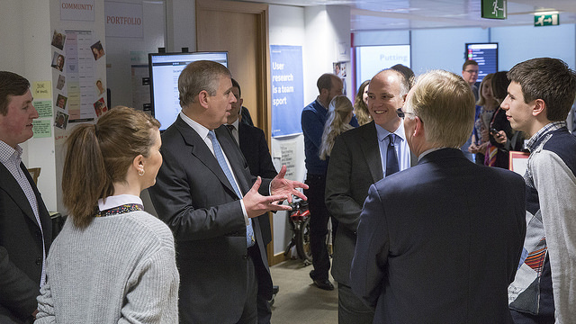 HRH The Duke of York in Aviation House, talking to designer Amy Whitney and government CTO Liam Maxwell, among others.