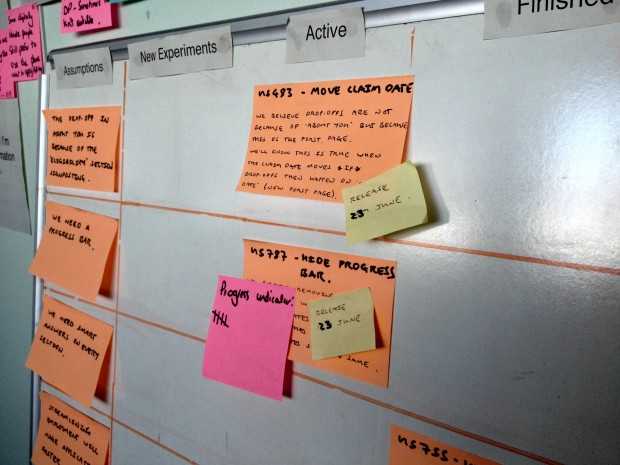 User research sticky notes on a wall