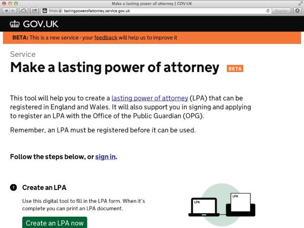 Screenshot of the Lasting Power of Attorney beta service on GOV.UK.