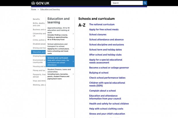 Screenshot of GOV.UK navigation redesigned using Miller columns. The screenshot shows a list of topics where Education is highlighted. This has then opened up a new column to the right of the original that gives you a list of topics related to Education. From that column 'Schools and curriculum' has been highlighted. A third column has then opened to the right of the previous two that shows an A-Z of pages that relate to 'Schools and curriculum'.
