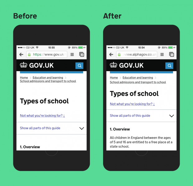 Side-by-side graphic mock-up showing GOV.UK on a mobile device, before and after the latest round of changes.
