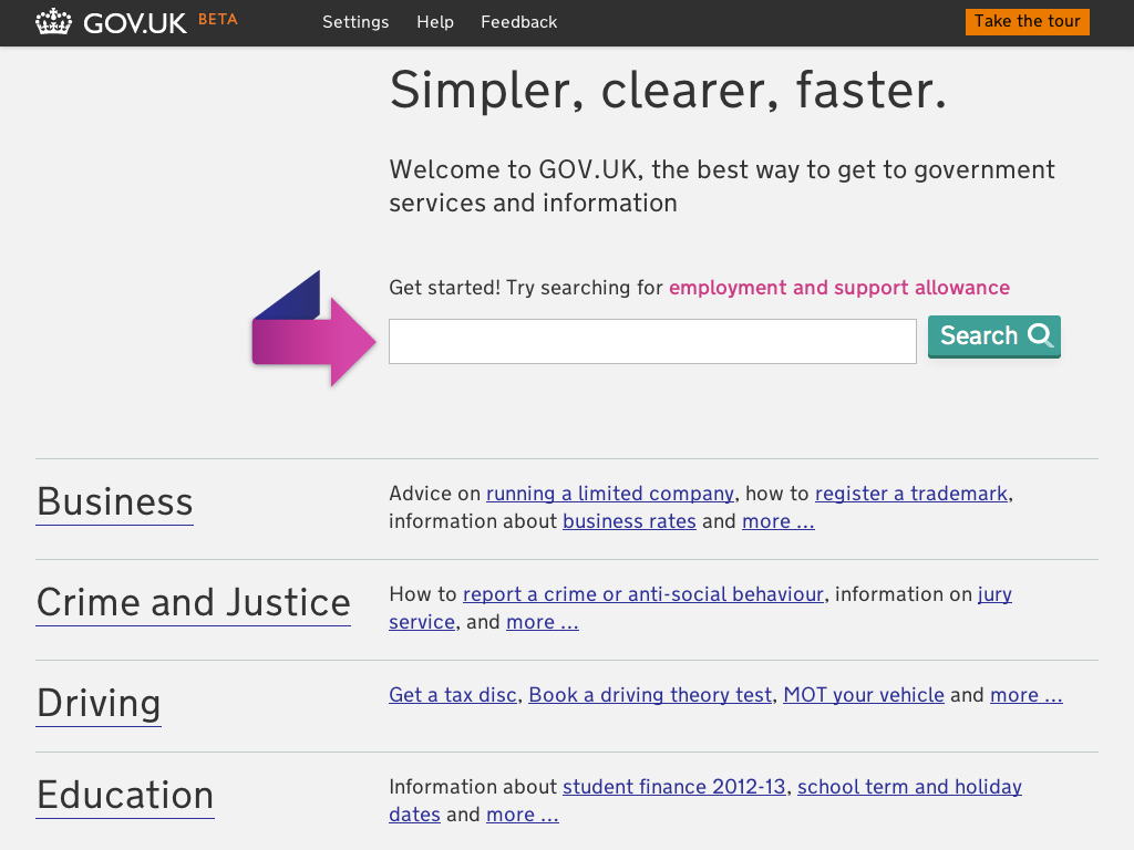 Screenshot of the beta home page of GOV.UK after replacing the carousel. It shows a list of primary headings for 'Business', 'Crime and Justice', 'Driving' and 'Education'.