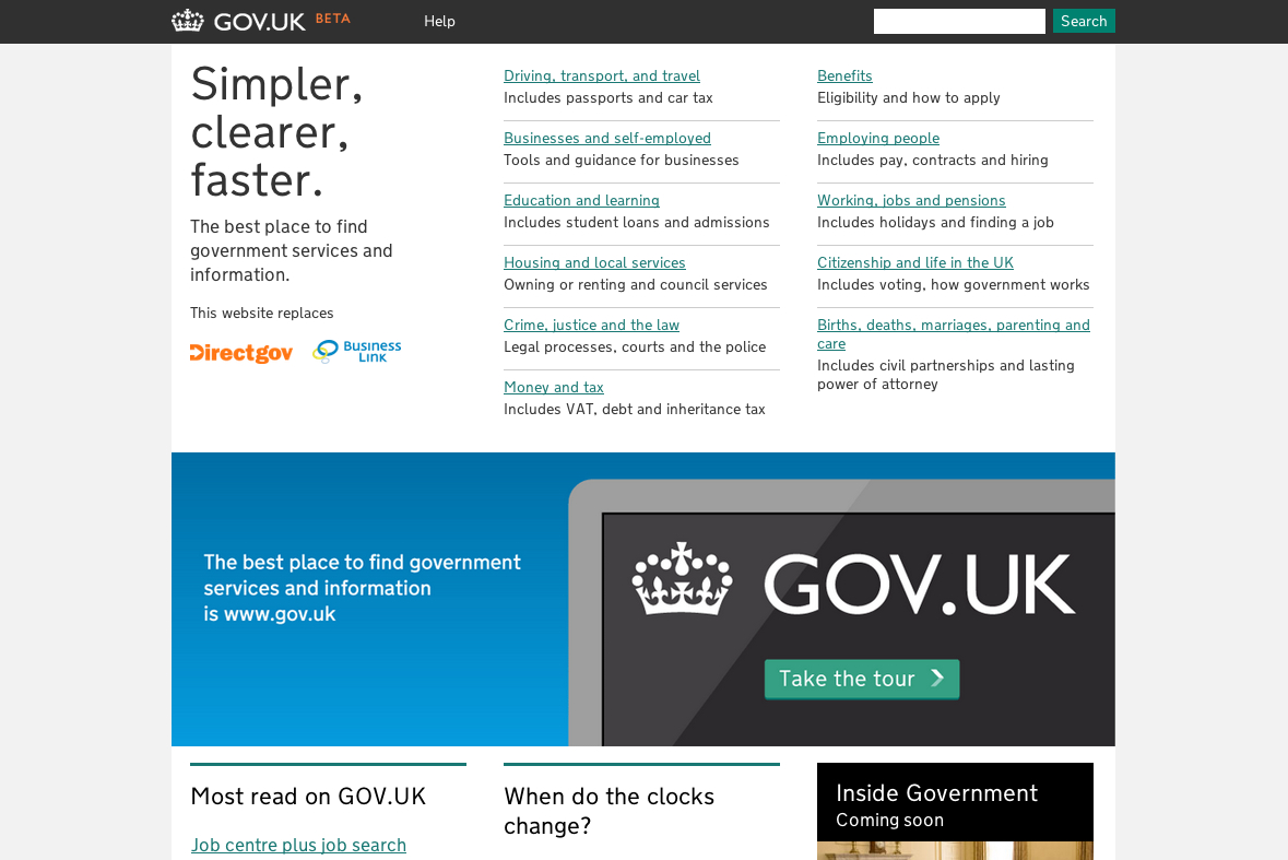 Screenshot of GOV.UK homepage, circa October 2012. The search bar had been made smaller and was now in the top right hand corner of the page. The page was split between a list of category titles (such as Driving, Benefits or Education) and a large image suggesting users take a tour of GOV.UK.