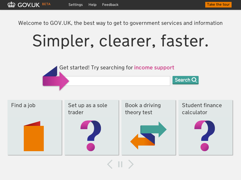 Screenshot of the beta home page of GOV.UK, showing the carousel interface element that resulted in negative feedback. It shows four buttons with brightly coloured icons for 'Find a job', 'Set up as a sole trader', 'Book a driving theory test' and 'Student finance calculator'.