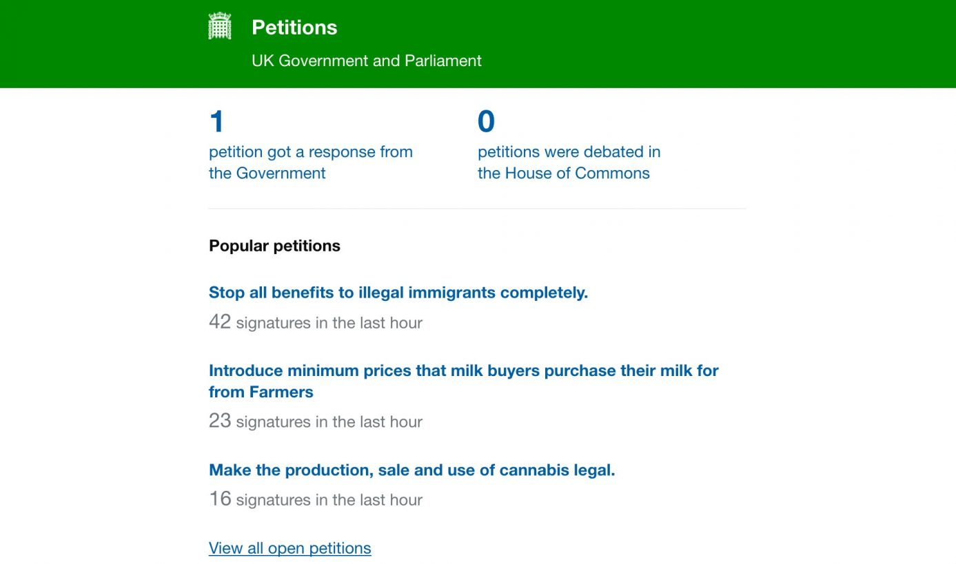 The new Parliamentary petitions website.