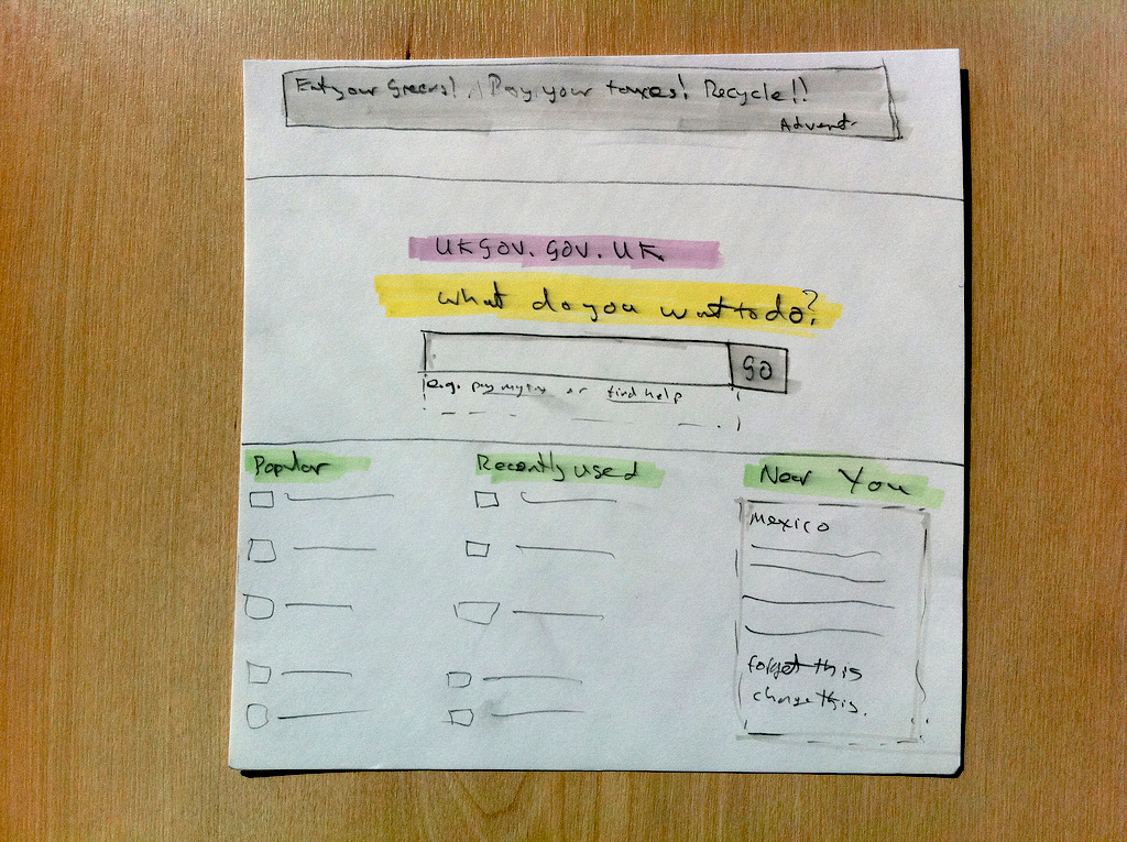 Early sketch of the GOV.UK alpha homepage by Richard Pope.