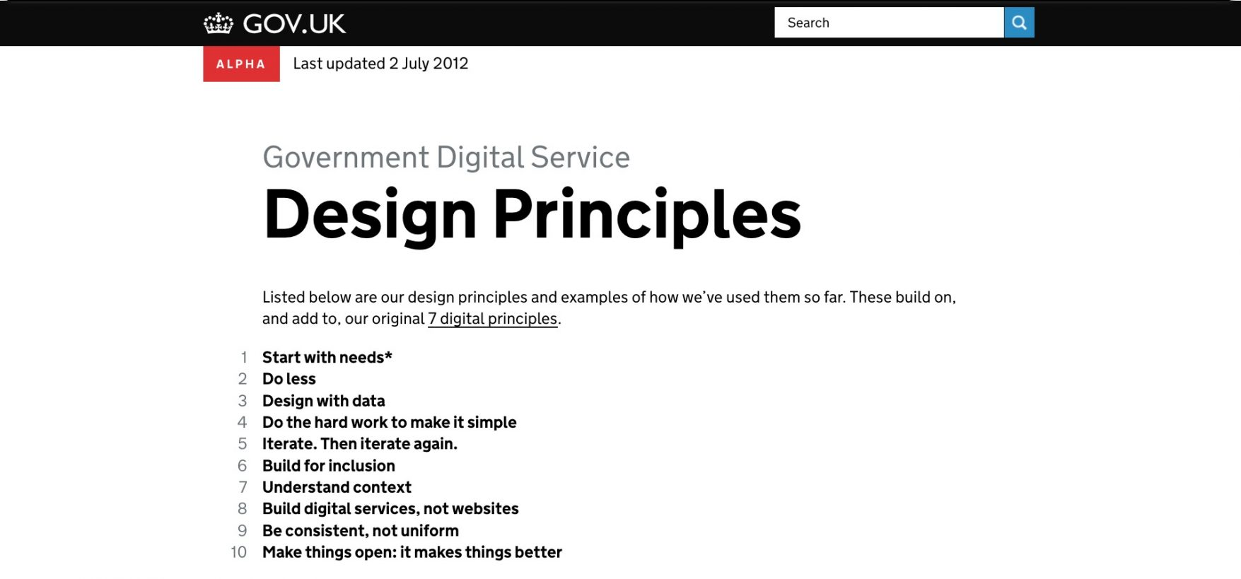 Screenshot of the Design Principles alpha showing the list of ten design principles.
