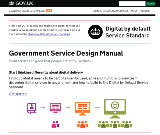Screenshot of the first version of the Service Design Manual on GOV.UK