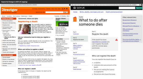 Two screenshots side by side of Directgov and GOV.UK showing the 'Registering a death' and 'What to do after someone dies' page on Directgov and GOV.UK repectively.