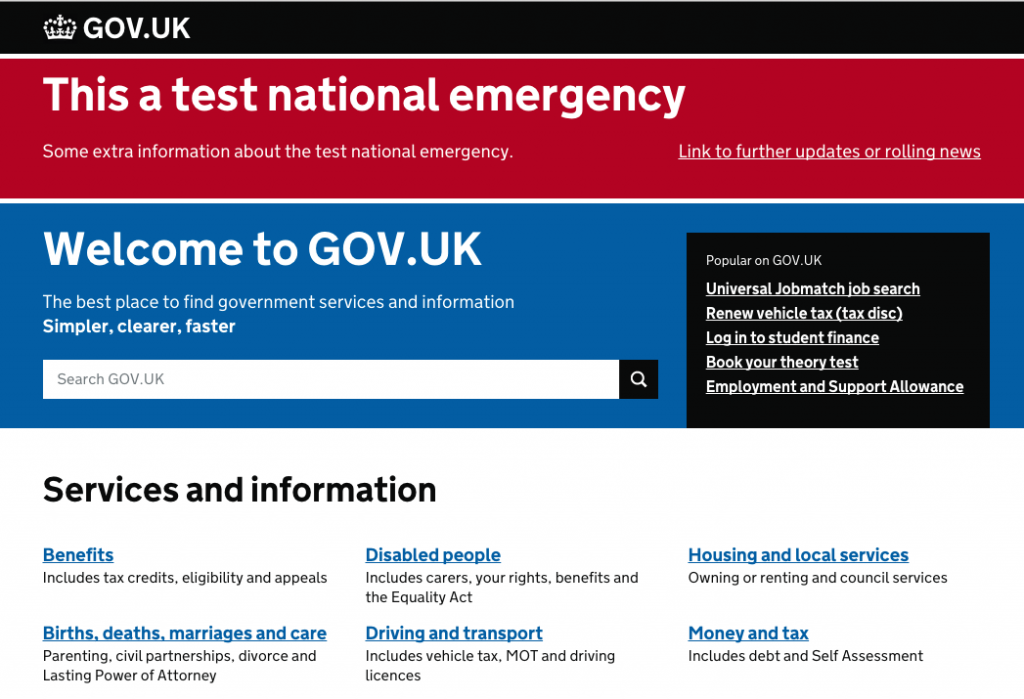 Testing how GOV.UK might respond in times of serious national emergency