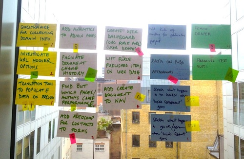 The Transition team cover a window with coloured flash cards with tasks written on them.