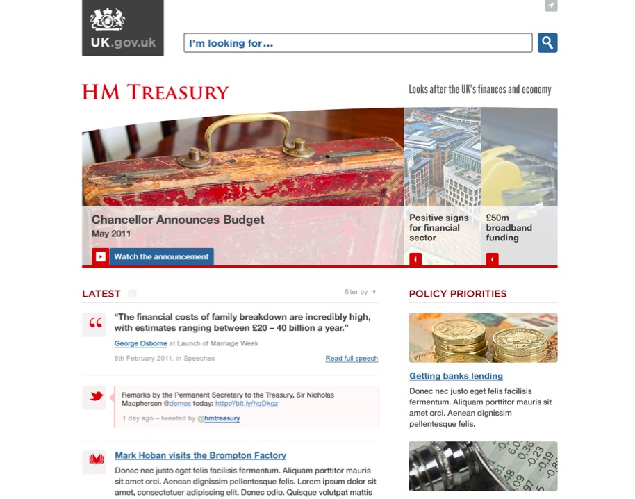 An early GOV.UK alpha prototype of the Treasury's home page.