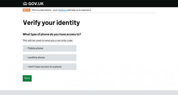 Screenshot of the GOV.UK Verify beta.