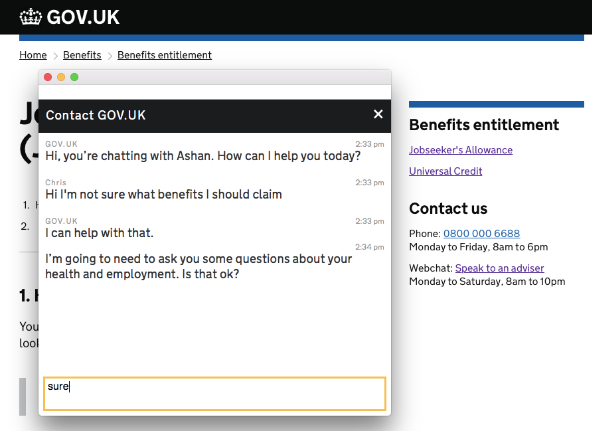 Screenshot from the web chat alpha, showing a chat window on top of a GOV.UK page. Inside the chat window, a member of staff named Ashan offers to help a user who says they are unsure which benefits to claim.