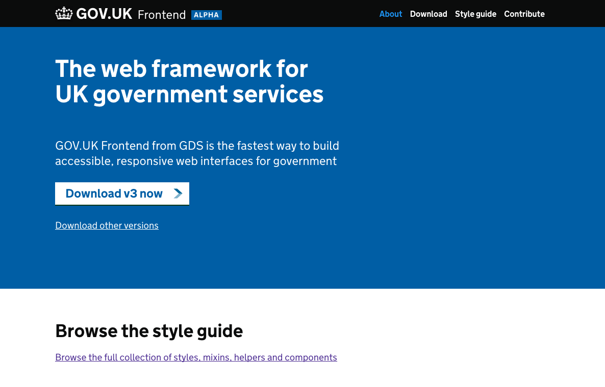 "Screenshot of the GOV.UK Frontend Alpha. The page heading reads ""The web framework for UK government services""."