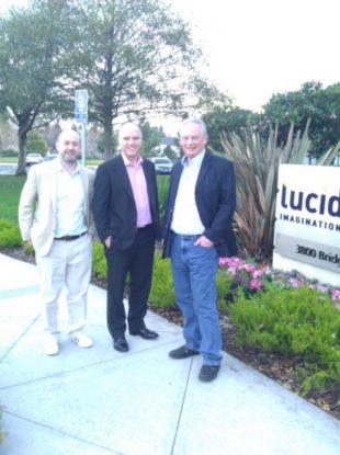 Bad quality picture of Mike Bracken, Liam Maxwell and Minister Francis Maude standing outside LucidWorks on a trip to Silicon Valley.