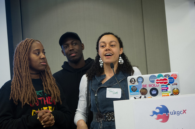 Members of the Black, Asian and Minority Ethnic network pitching at the unconference